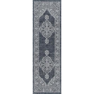 Tayse Rugs Veranda Charcoal 2 Ft 3 In X 10 Ft Outdoor Runner Vnd2118 2x10 The Home Depot