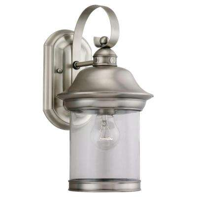 Hermitage 1-Light Outdoor Antique Brushed Nickel Wall Mount Fixture