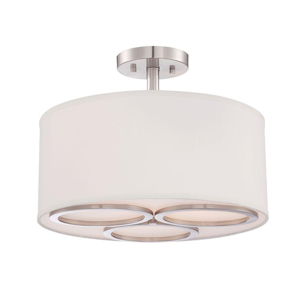 Omega 3-Light Satin Platinum Interior Incandescent Semi Flush Mount