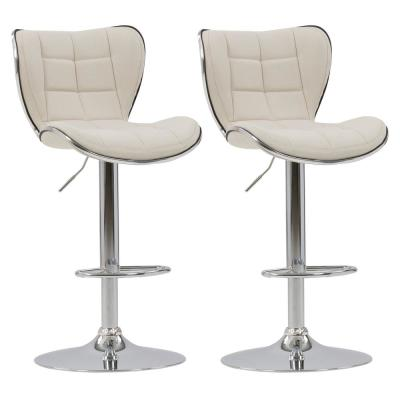 Adjustable Chrome Accented Bar Stool in Oatmeal Fabric (Set of 2)