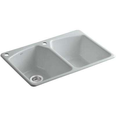 Tanager Drop-in Cast-Iron 33 in. 2-Hole Double Bowl Kitchen Sink in Ice Grey