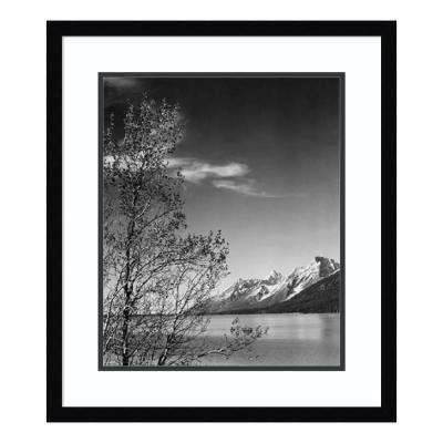 """""""View of mountains with tree in foreground, Grand Teton National Park, Wyoming, 1941"""" by Ansel Adams Framed Wall Art"""