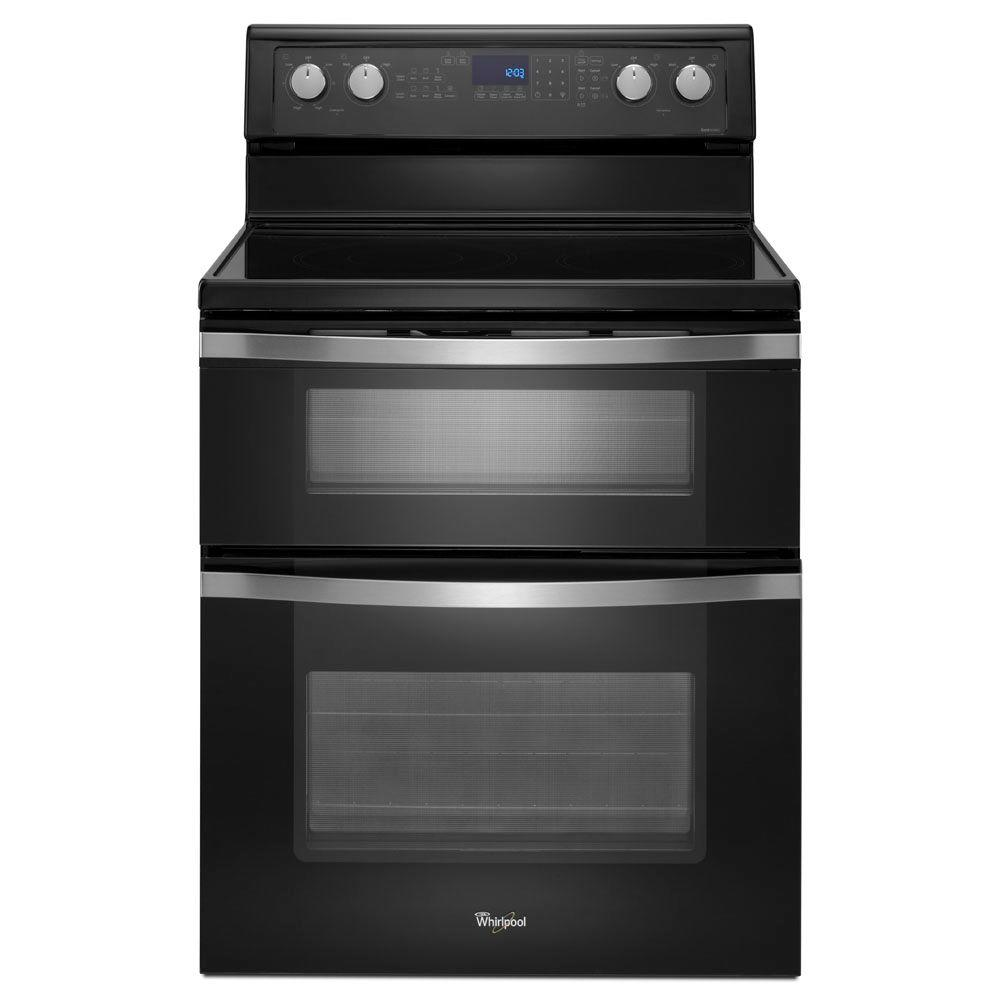 Whirlpool 6.7 cu. ft. Double Oven Electric Range with Self-Cleaning Convection Oven in Black Ice