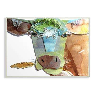 "13 in. x 19 in. ""Watercolor Cutout Collage Cow"" by Marley Ungaro Printed Wood Wall Art"