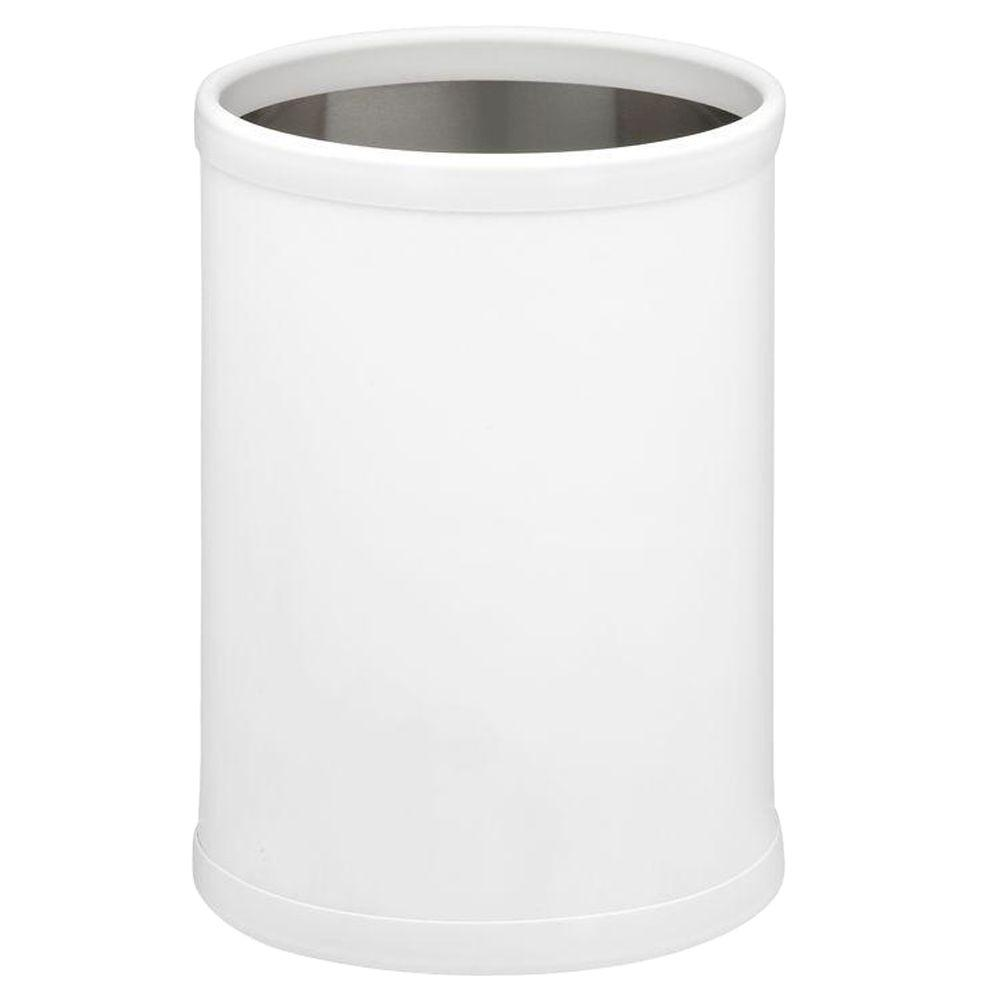 Bartenders Choice Fun Colors White 8 Qt. Round Waste Basket