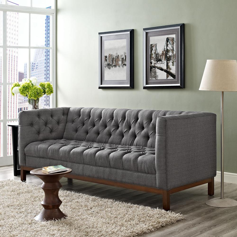 Exceptionnel Panache Gray Upholstered Fabric Sofa
