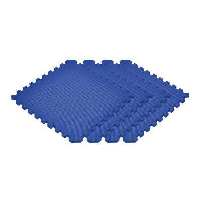 Blue 24 in. x 24 in. x 0.79 in. Foam Interlocking Reversible Mat (4-Pack)