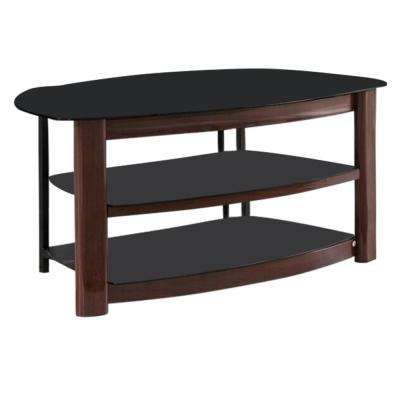 Brown Wood and Black Tempered Glass Modern TV Stand