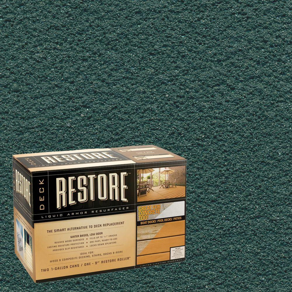 Restore Deck Liquid Armor Resurfacer 2 Gal. Kit Water Based Forest Exterior Coating-DISCONTINUED