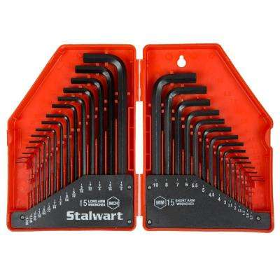 Steel Hex Key SAE and Metric Wrench Set (30-Piece)