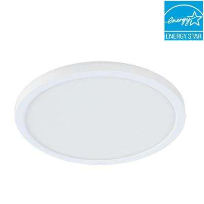 5/6 in./J-Box 12-Watt Dimmable White Integrated LED Round Flat Panel Ceiling Flushmount Light with Color Changing CCT