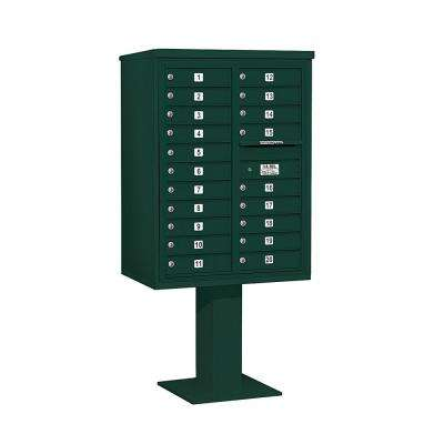 3400 Series 69-1/8 in. 11 Door High Unit Green 4C Pedestal Mailbox with 20 MB1 Doors