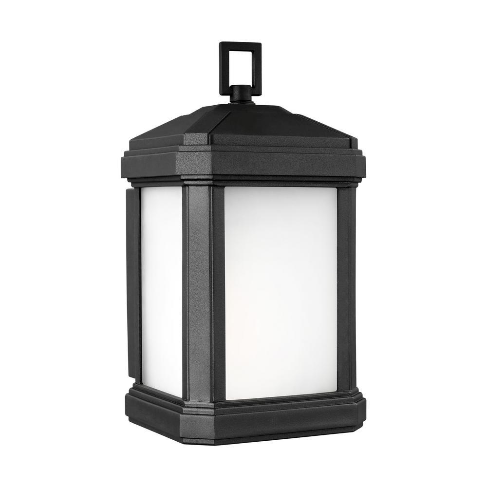 Sea Gull Lighting Gaelan 1-Light Black Outdoor 10.25 in. Wall Lantern Sconce