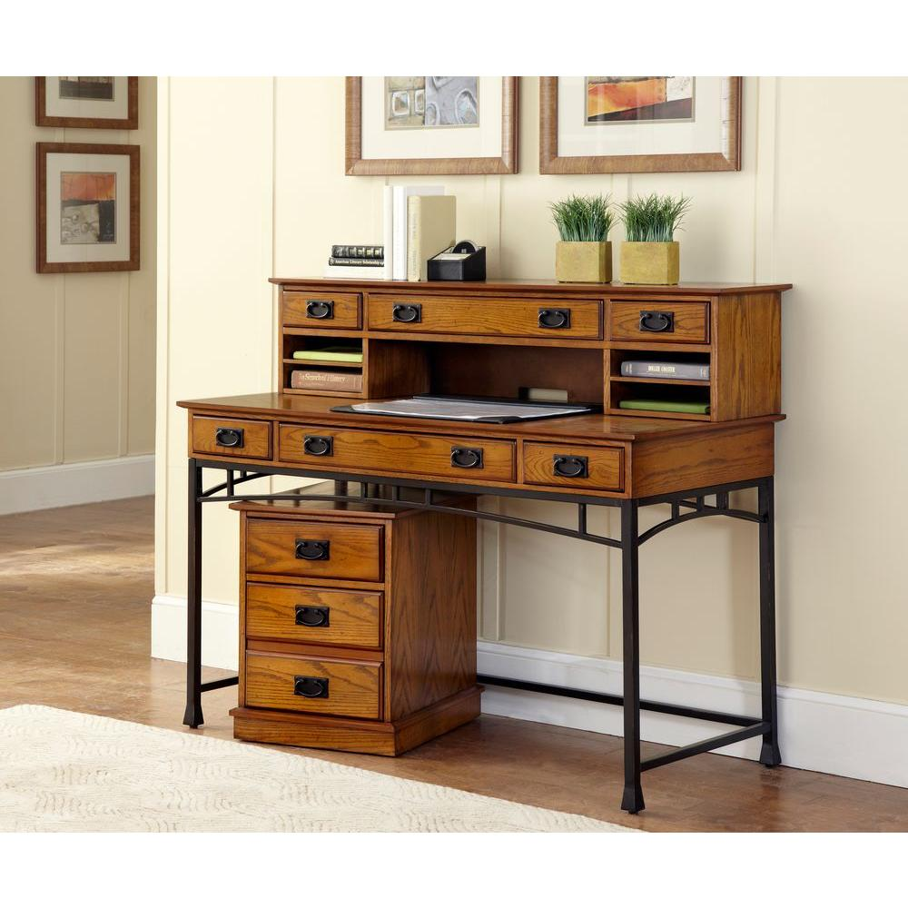 Home Styles Modern Craftsman 2 Piece Distressed Oak And Deep Brown Office Suite