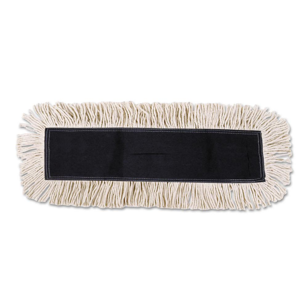 Disposable Dust Mop Head w/Sewn Center Fringe, Cotton/Synthetic, 36w x 5d,
