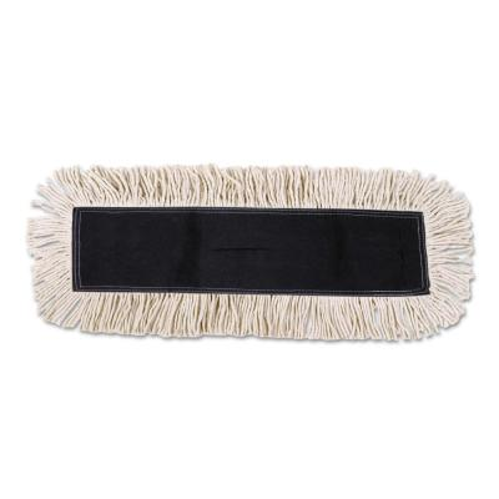 Disposable Dust Mop Head w/Sewn Center Fringe, Cotton/Synthetic, 36w x 5d, White