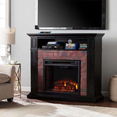 Utica 45.5 in. Faux Brick Electric Fireplace TV Stand Media in Satin Black