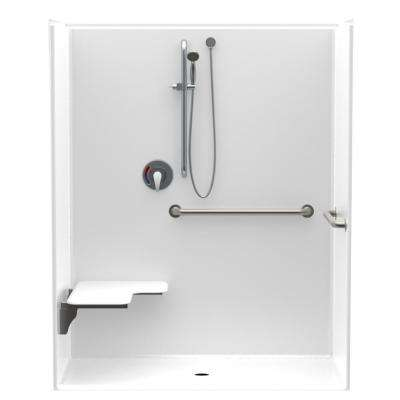 Accessible AcrylX 60 in. x 34 in. x 75.6 in. 1-Piece ADA Shower Stall w/ Left Seat and Grab Bars in White