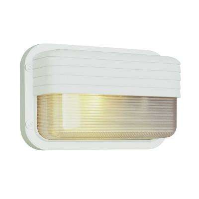 Mesa 1-Light White Bulkhead with Ribbed Glass Shade