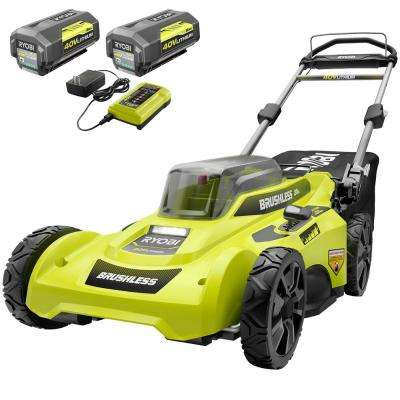20 in. 40-Volt Brushless Lithium-Ion Cordless Battery Walk Behind Push Lawn Mower (2) 6.0 AhBatteries & Charger Included