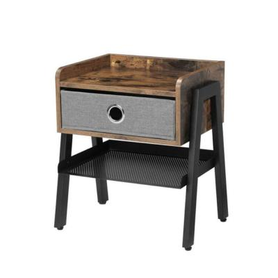 1-Drawer Brown and Black Wooden Nightstand with Fabric Removable Drawer 20.7 in. H x 13.8 in. W x 18.1 in. L