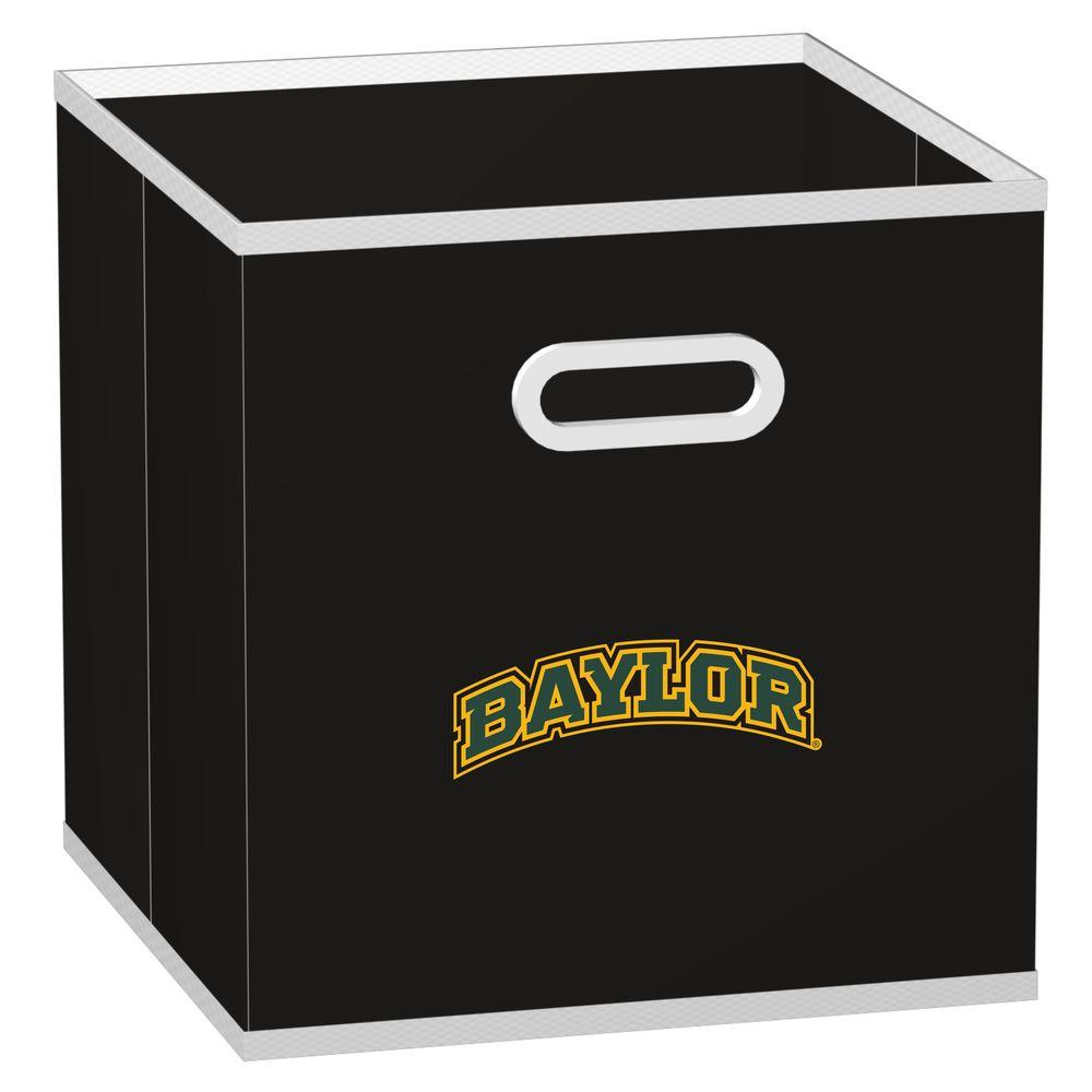 MyOwnersBox 10-1/2 in. W x 10-1/2 in. H x 11 in. D College STOREITS Baylor University Black Fabric Storage Drawer