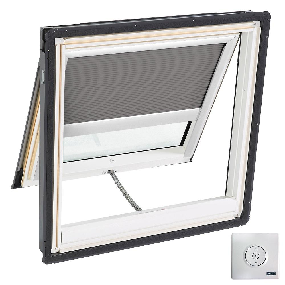 21 in. x 26-7/8 in. Solar Powered Venting Deck-Mount Skylight with