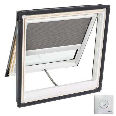 44-1/4 in. x 45-3/4 in. Solar Powered Venting Deck-Mount Skylight Laminated Low-E3 Glass and Grey Room Darkening Blind