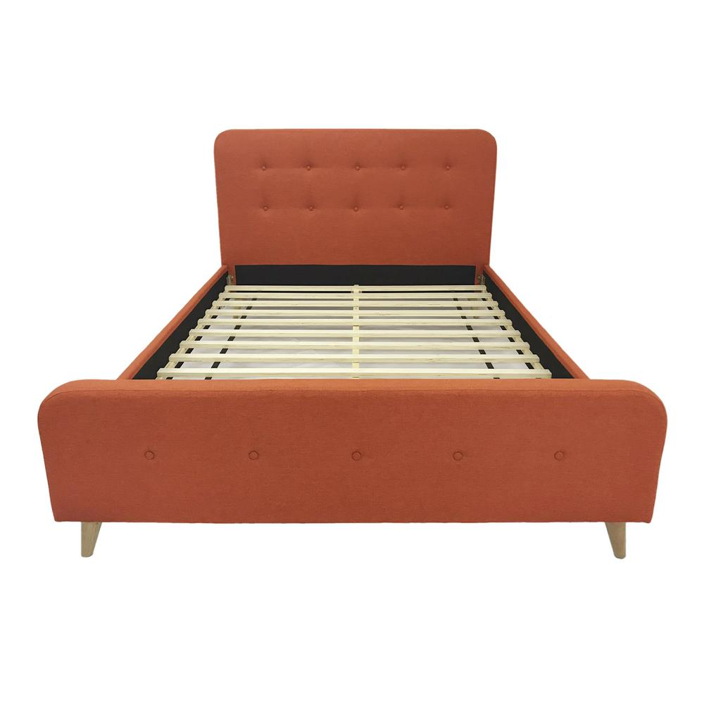 6b20ab836870 Priya Mid-Century Modern Queen-Size Burnt Orange Fabric and Wood Bed Frame