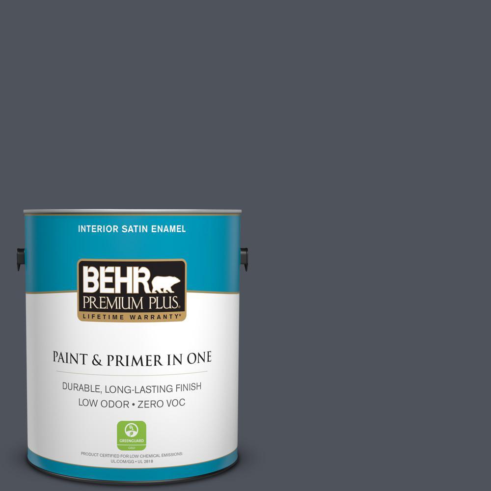 BEHR Premium Plus 1-gal. #N540-7 Coal Mine Satin Enamel Interior Paint