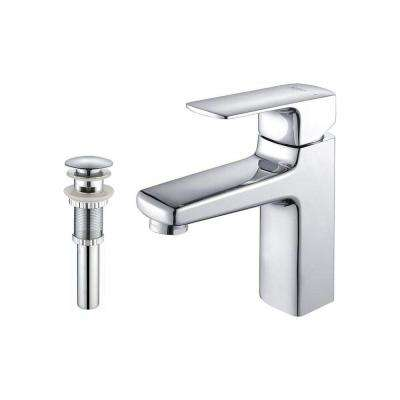 Virtus Single Hole Single-Handle High-Arc Vessel Bathroom Faucet with Matching Pop-Up Drain and Overflow in Chrome
