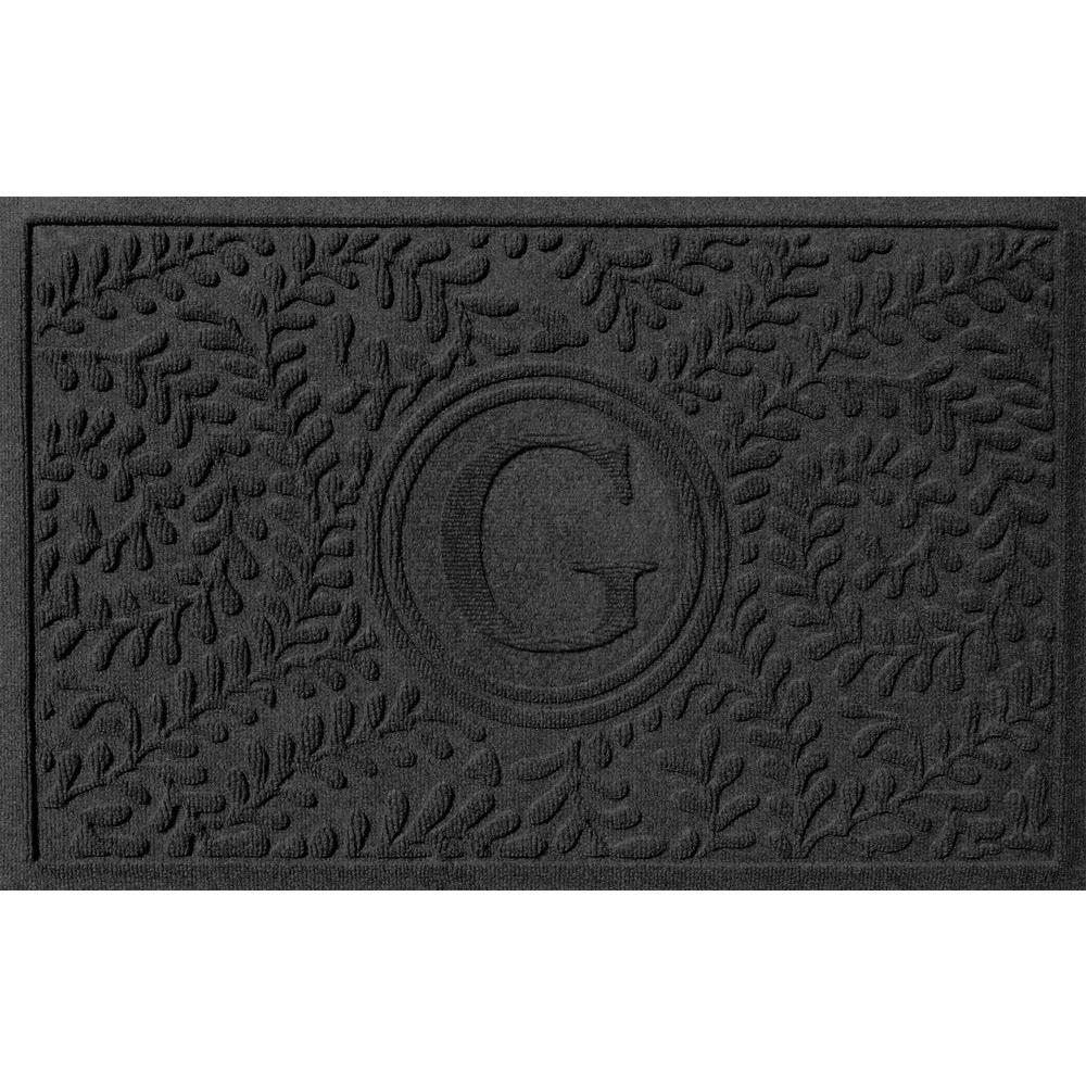 Boxwood Charcoal 24 in. x 36 in. Monogram G Door Mat