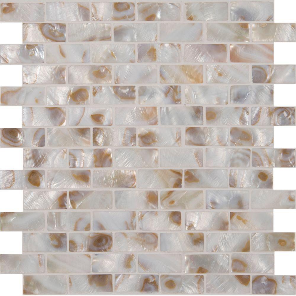 MSI Santorini 12 in. x 12 in. x 3 mm Glass Mesh-Mounted Mosaic Wall ...