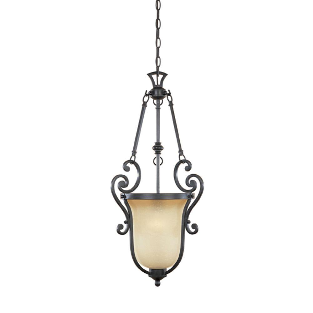 Designers Fountain Monte Carlo 1-Light Natural Iron Hanging Foyer Pendant