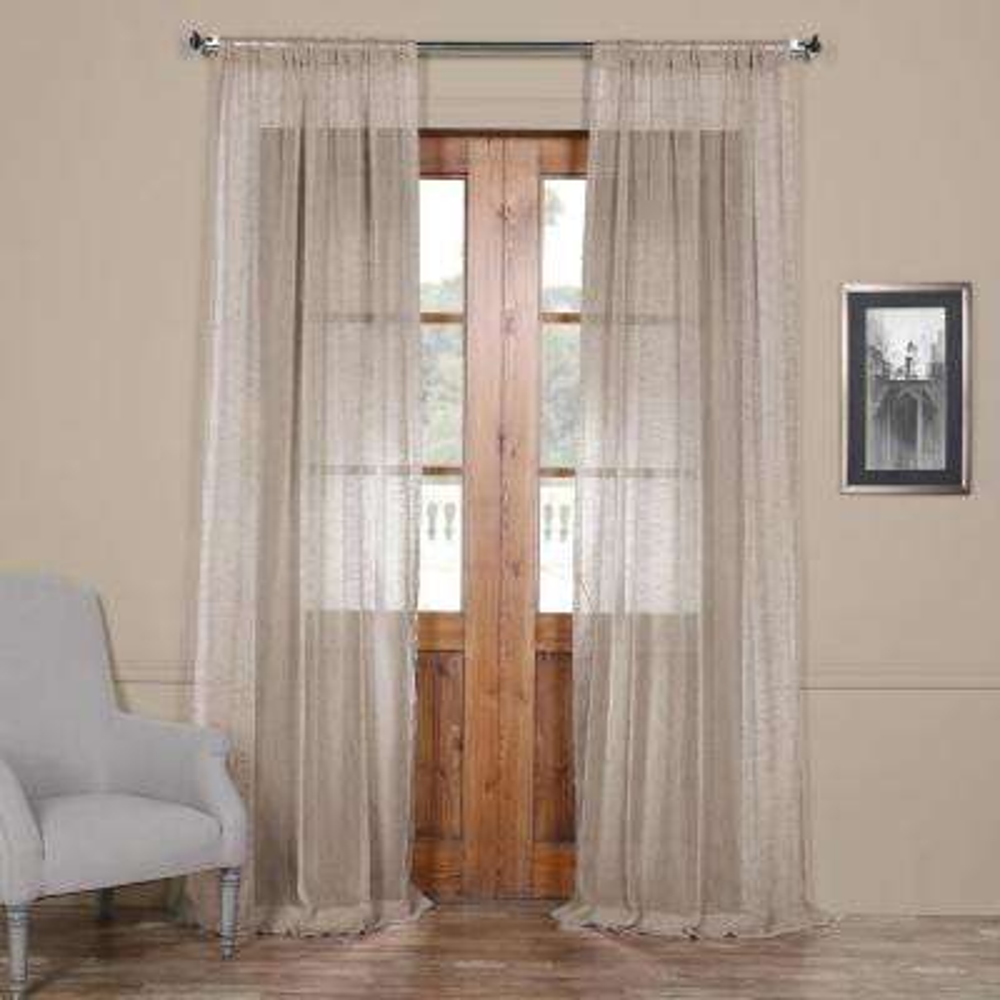 Open Weave Cinder Grey Linen Sheer - 50 in. W x 96 in. L