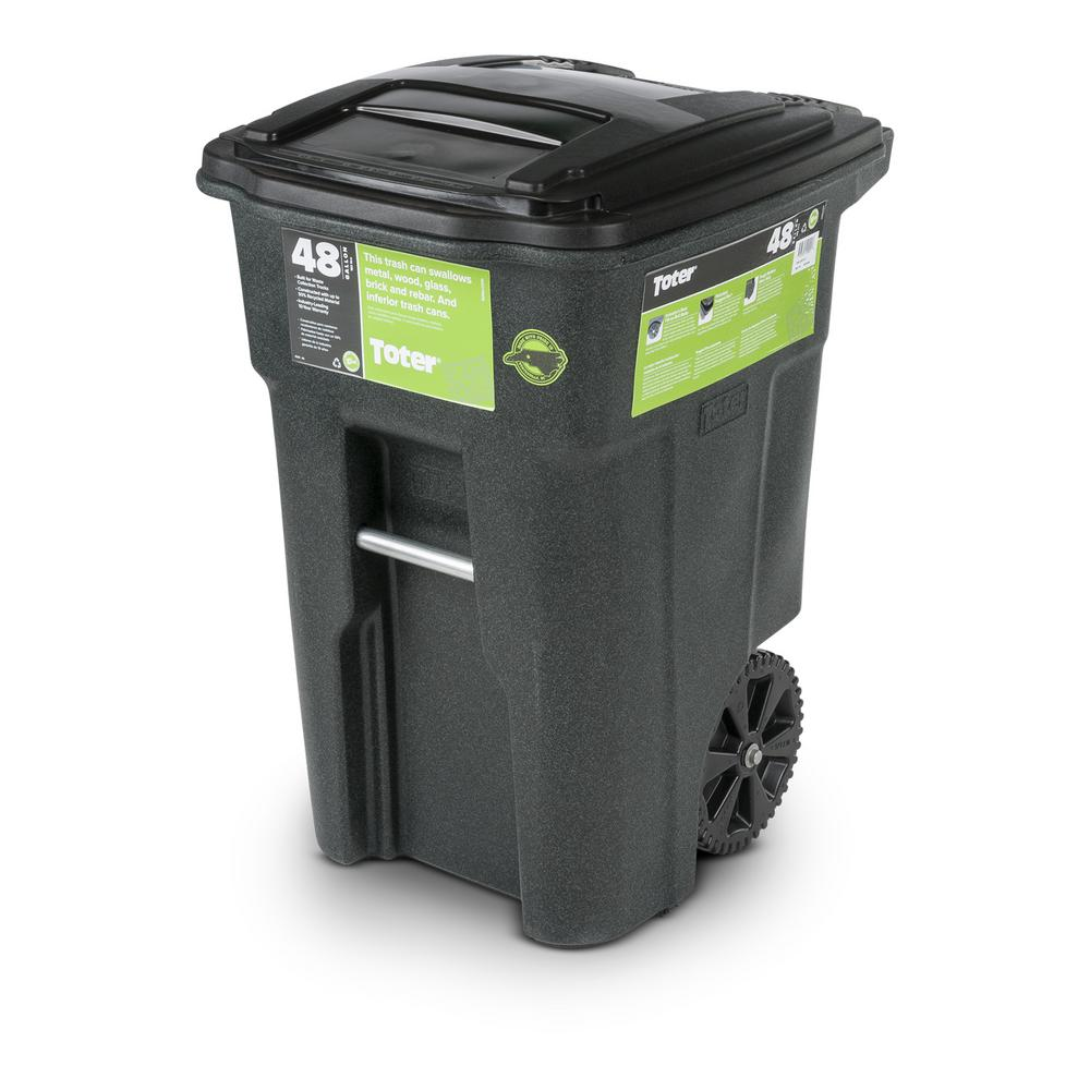 Toter 48 Gal Greenstone Trash Can With Wheels And Attached Lid