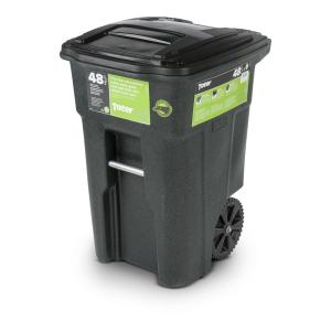 Toter 64 Gal Greenstone Trash Can With Wheels And Attached Lid