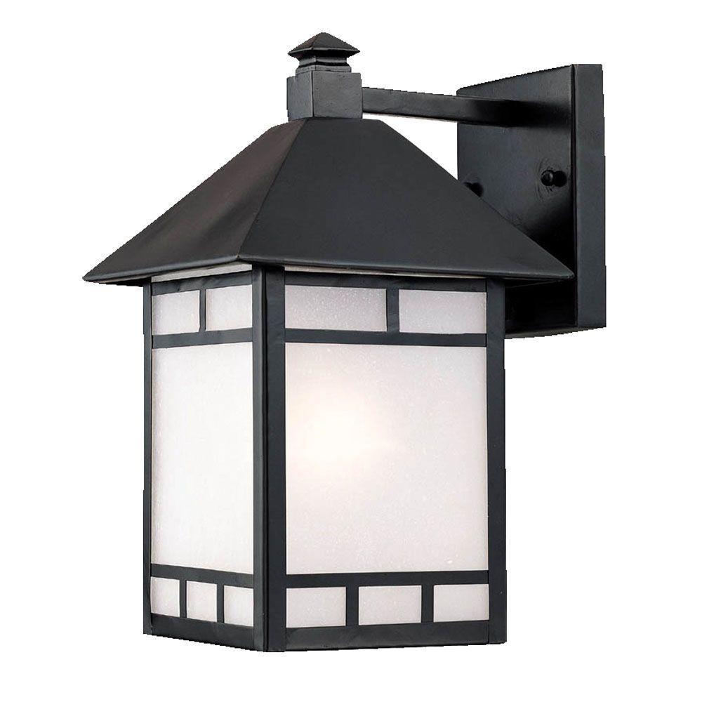 Artisan Collection 1-Light Matte Black Outdoor Wall-Mount Fixture