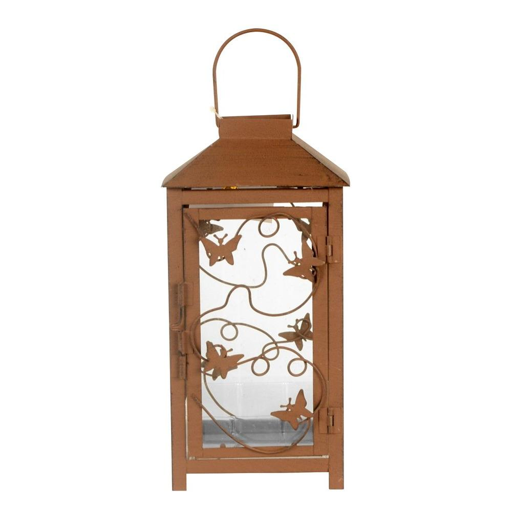 Sorrento 5 in. x 10 in. Glass and Metal Lantern Terrarium