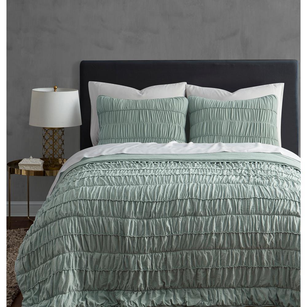 Ultra Soft Garment Wash 3-Piece Mint Green Rouched FullQueen Quilt Set