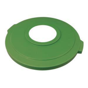 Carlisle Bronco 32 Gal. Green Round Trash Can Recycle Lid with 8 inch Hole (4-Pack) by Carlisle