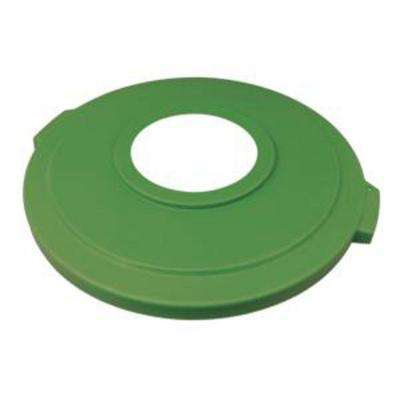 Bronco 32 Gal. Green Round Trash Can Recycle Lid with 8 in. Hole (4-Pack)