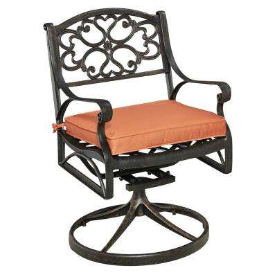 Terrific Biscayne Rust Bronze Swivel Cast Aluminum Outdoor Dining Chair With Coral Cushion Bralicious Painted Fabric Chair Ideas Braliciousco