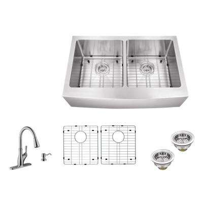 Apron Front 33 in. 16-Gauge Stainless Steel Double Bowl Kitchen Sink in Brushed Stainless with Gooseneck Faucet