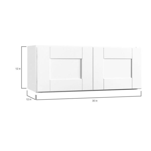 Hampton Bay Shaker Assembled 30 In X 12 In X 12 In Wall Bridge Kitchen Cabinet In Satin White Kw3012 Ssw The Home Depot