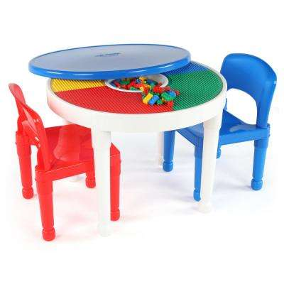 Playtime White 2-in-1 Plastic LEGO-Compatible Kids Activity Table and 2-Chairs Set