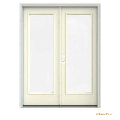 60 in. x 80 in. Vanilla Painted Steel Right-Hand Inswing Full Lite Glass Stationary/Active Patio Door