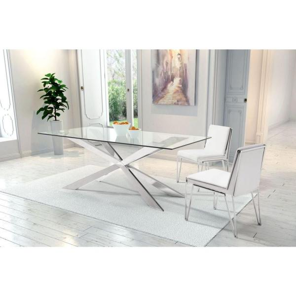 Awesome Kylo White Leatherette Dining Chair Set Of 2 Gmtry Best Dining Table And Chair Ideas Images Gmtryco