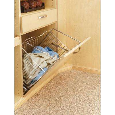 16 in x 19.73 in. Satin Nickel Pull-Out Hamper Basket