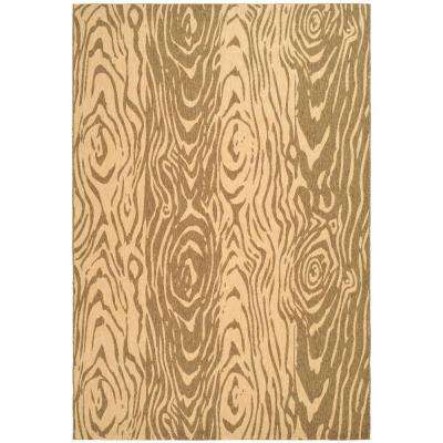 Layered Faux Bois Coffee/Sand 6 ft. 7 in. x 9 ft. 6 in. Area Rug